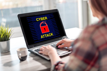 Door stickers Wall Decor With Your Own Photos Cyber attack concept on a laptop screen