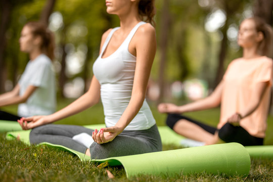 Three young slim girls sit in the lotus positions with closing eyes doing yoga on yoga mats on green grass in the park on a warm day
