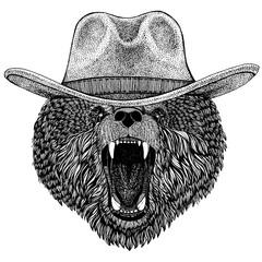 Bear wearing cowboy hat. Wild west animal. Hand drawn image for tattoo, emblem, badge, logo, patch, t-shirt
