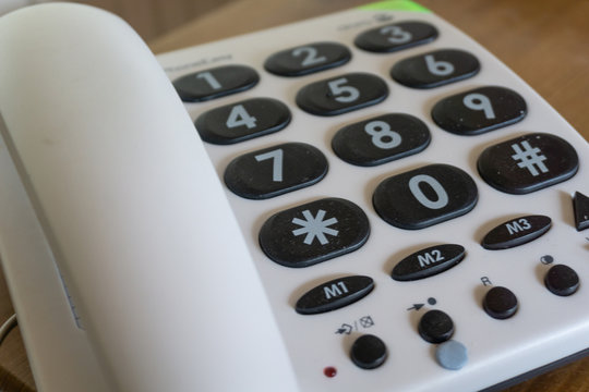 Telephone with large buttons. Phone for elderly or disabled.