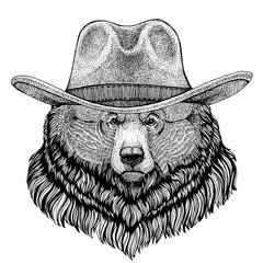Grizzly bear Big wild bear wearing cowboy hat. Wild west animal. Hand drawn image for tattoo, emblem, badge, logo, patch, t-shirt