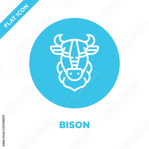 bison icon vector from animal head collection  Thin line