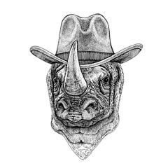 Rhinoceros, rhino wearing cowboy hat. Wild west animal. Hand drawn image for tattoo, emblem, badge, logo, patch, t-shirt