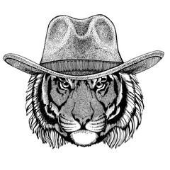 Wild tiger wearing cowboy hat. Wild west animal. Hand drawn image for tattoo, emblem, badge, logo, patch, t-shirt