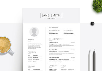 Black and White Resume and Cover Letter Set with Gray Header Element