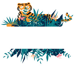 Summer frame with tropical jungle leaves, flowers and tiger.Vector illustration.
