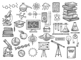 Chemistry and research equipment vector icons