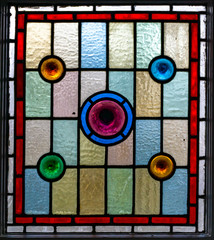 Stained glass window. Pattern in stained glass