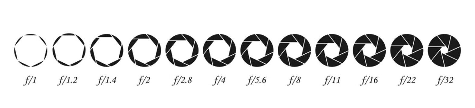 Set of apertures for the lens. Membrane camera lens. Diaphragm numbers.