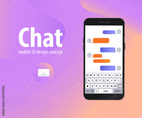 Chatbot Interface banner concept  Man chatting with chat bot