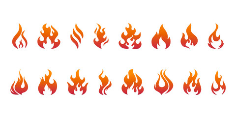 SET Red and orange Fire flames for graphic and web design. Trendy symbol for website design web button or mobile app