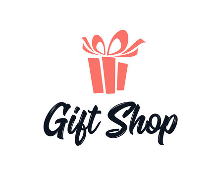 Simple Logo Illustration for gift shop logo design. Emblem, Design Concept
