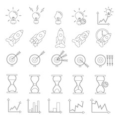 Search Engine Optimization Vector Outline Icons. SEO Elements.