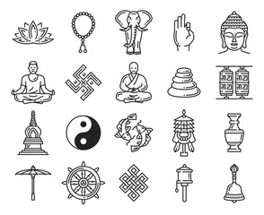 Buddhism religion linear icons and symbols