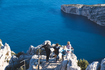People tourists enjoy the view the Mediterranean sea and  the famous Creeks in France