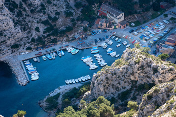 Top view above Marseille, Creek of Morgiou in National Park of Calanques (France)