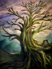 Big and ancient tree in a colorful scenery - digital painting