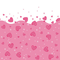 Seamless pattern concept of Love Potion. Flying hearts card. Simple design. Hearts love seamless background. Vector background. Love elixir background with hearts and bubles. Chemistry of love.
