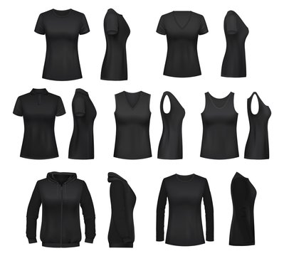 Female clothes isolated mockups, vector t-shirt