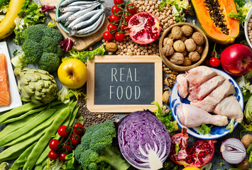 fruits, vegetables, fish, meat and text real food Wall mural