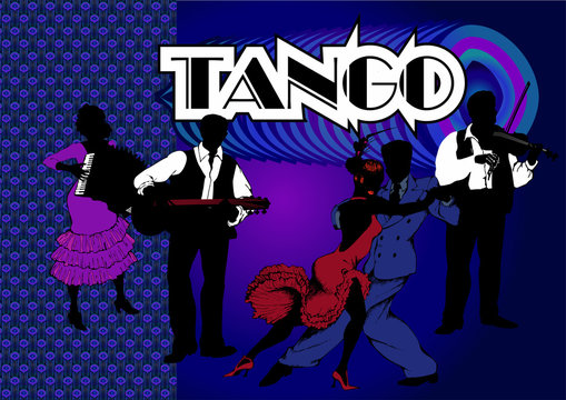 A couple dancing tango and musicians. Gangster style 1930.