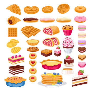 Sweet pastry icons set. Vector bakery products.