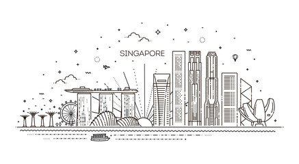 Singapore architecture line skyline illustration. Linear vector cityscape with famous landmarks Fototapete