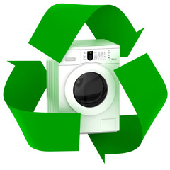 washing machine inside symbol recycle