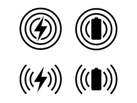 Wireless charge logo set with battery and lightning bolt symbol in black and white color