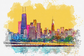 Watercolor sketch or illustration of a beautiful view of the Chicago with urban skyscrapers. Cityscape or urban skyline