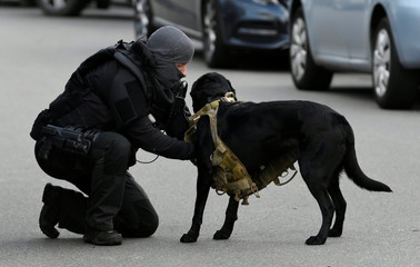 Police officer with a service dog is seen after a shooting in Utrecht