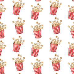 Vector pattern on the fast food theme: popcorn box.
