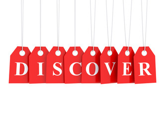 Discover text word on red hanging labels - discover best deals
