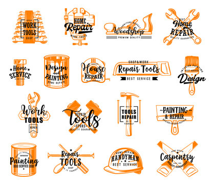 Repair tools vector icons with lettering