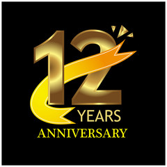 12 years anniversary golden. anniversary template design for web, game ,Creative poster, booklet, leaflet, flyer, magazine, invitation card - Vector