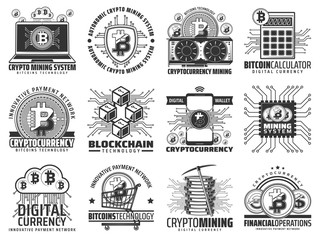 Cryptocurrency, mining and blockchain icons
