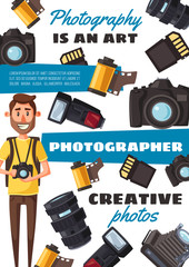 Photographer man, equipment and accessories