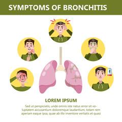 Bronchitis symptoms infographic. Chronic disease. Cough, fatigue