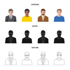 Vector illustration of hairstyle and profession  icon. Set of hairstyle and character  vector icon for stock.