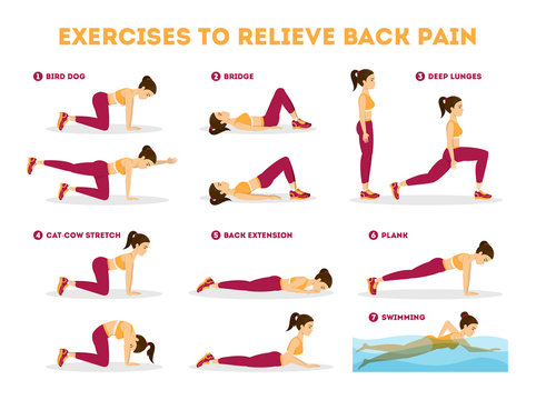 Exercise set to relieve back pain. Stretching and training