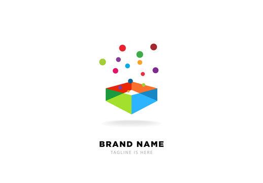 Creative Idea Box Logo, Magic box shape. 3d transparent abstract colorful perspective box logo. Vector illustration - Vector