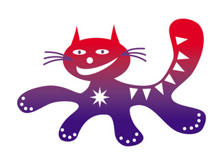Running cat Funny cartoon happy positive cat drawing in red and purple colors. Vector graphics.
