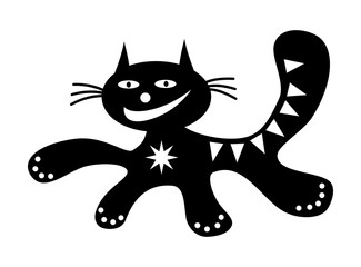 Running cat Funny cartoon happy positive cat drawing in black and white. Vector graphics.