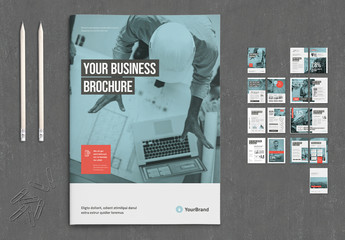 Business Brochure with Coral and Gray Accents