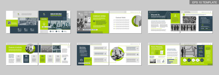 Brochure creative design. Multipurpose template with cover, back and inside pages. Trendy minimalist flat geometric design. Horizontal landscape a4 format. Fototapete