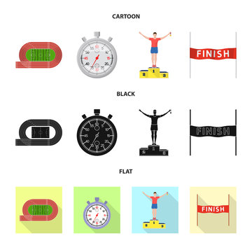 Vector design of sport  and winner symbol. Collection of sport  and fitness  stock symbol for web.