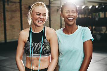 Laughing  young female friends standing in a gym together