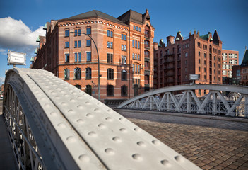 speicherstadt hamburg germany bridges and house on sunny day
