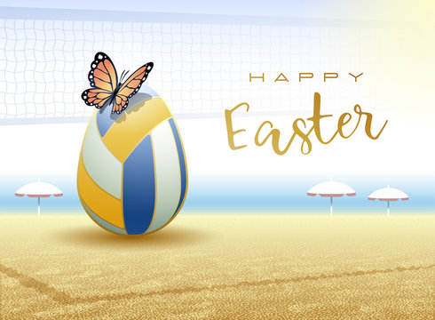 Happy Easter. Easter egg in the form of a beach volleyball ball with Butterfly. Vector illustration.