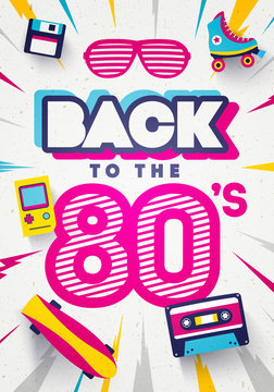 Vector Back to the 80's Colorful Retro Background. Eighties Graphic Poster And Banner Template.